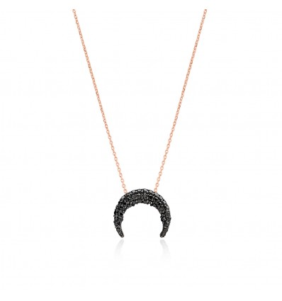 Collier horn rose noir
