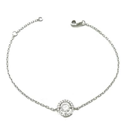 Bracelet solitaire serti en argent